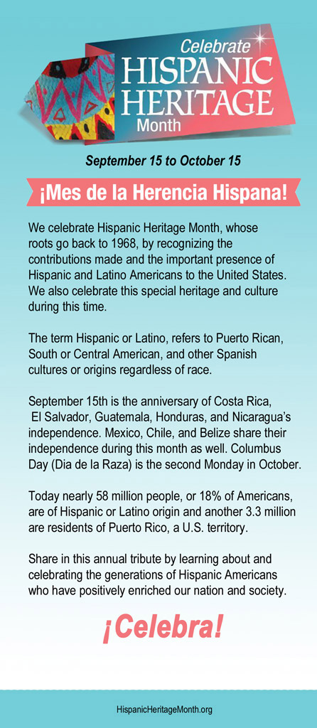 Hispanic Heritage Month 2018 Blue Infocard